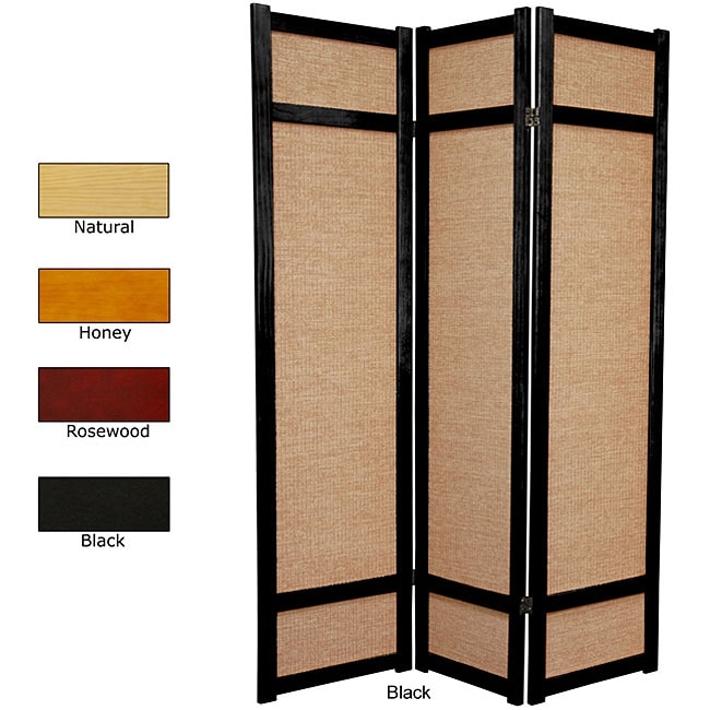 Handmade Wood and Jute 6-foot 3-panel Room Divider (China) - Thumbnail 0