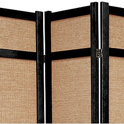 Handmade Wood and Jute 6-foot 3-panel Room Divider (China) - Thumbnail 1