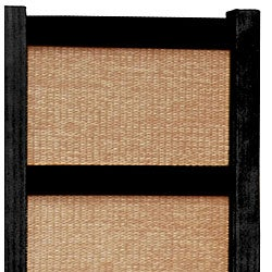 Handmade Wood and Jute 6-foot 3-panel Room Divider (China) - Thumbnail 2