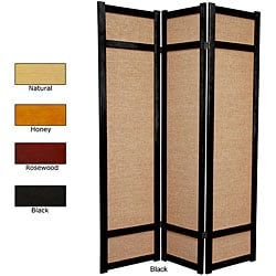 Handmade Wood and Jute 6-foot 3-panel Room Divider (China)