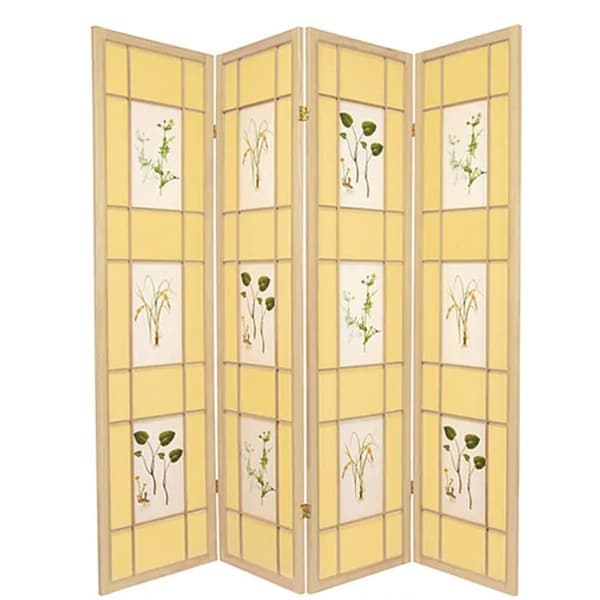 Admirable Handmade Wood And Paper Herbal Floral 4 Panel Room Divider China Download Free Architecture Designs Scobabritishbridgeorg