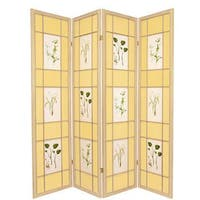 Handmade Wood and Paper Herbal Floral 4-panel Room Divider (China)