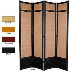 Handmade Spruce Wood and Jute 4-panel Room Divider (China)