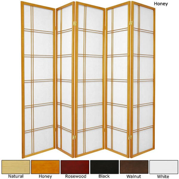 Spruce Wood 72-inch Double Cross 5-panel Room Divider (China)