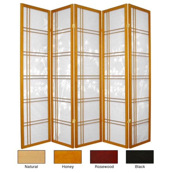 Wood 6-foot 5-panel Bamboo Tree Room Divider (China)