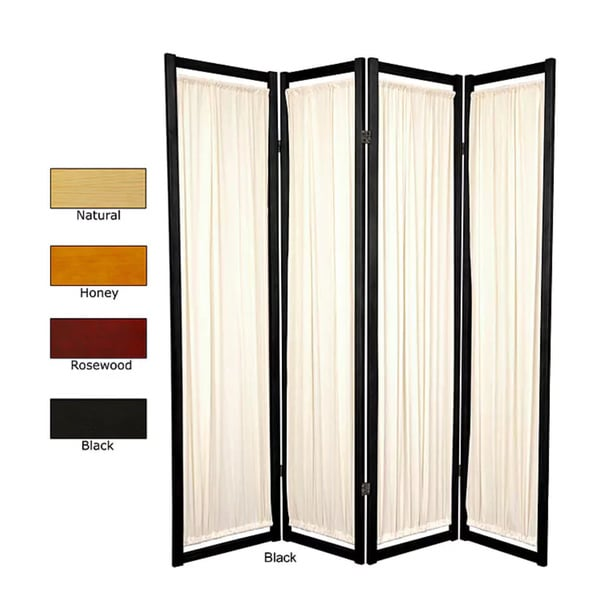 Shop Handmade Wood and Cotton Helsinki 4 panel Room Divider China