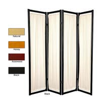 Handmade Wood and Cotton Helsinki 4-panel Room Divider (China) - 72 x 68