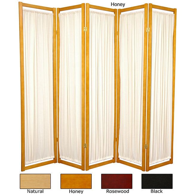 Handmade Wood and Cotton Helsinki 5-panel Room Divider (China) (Black)