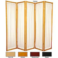 Handmade Wood and Cotton Helsinki 5-panel Room Divider (China)