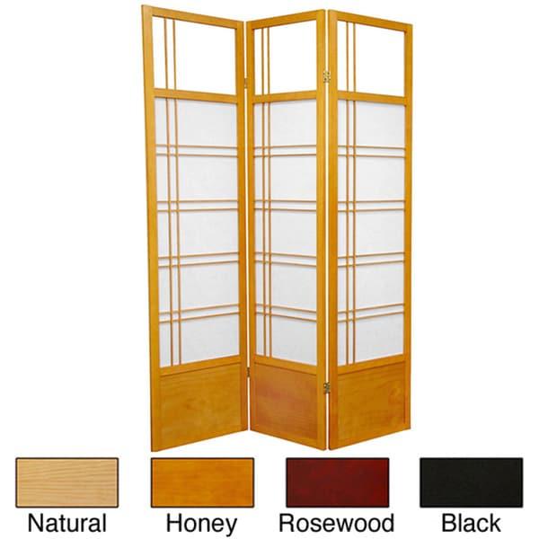 Handmade Spruce Wood 72-inch Kumo 3-panel Room Divider (China)