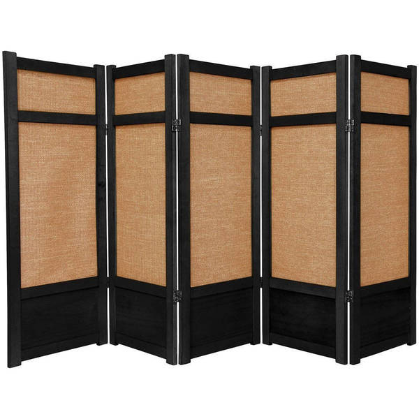 Handmade Spruce Wood and Jute 5-panel Room Divider (China)