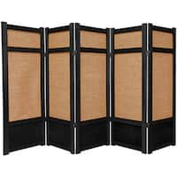 Handmade Spruce Wood and Jute 5-panel Room Divider (China) - 48 x 87.5