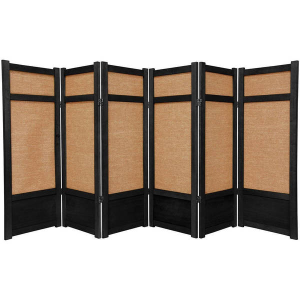 Handmade Spruce Wood and Jute 6-panel Room Divider (China)