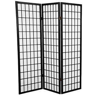 Handmade Wood and Rice Paper 5-foot Windowpane Room Divider (China)