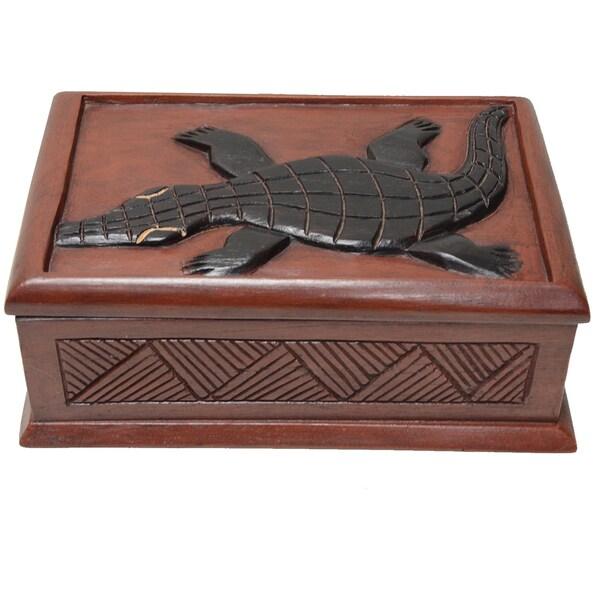 Wawa Wood 'Alligator' Accent Box (Ghana)
