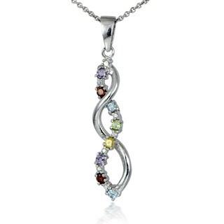 Glitzy Rocks Sterling Silver Multi-gemstone Diamond Accent Journey Pendant