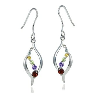 Glitzy Rocks Sterling Silver Multi-gemstone Diamond Accent Journey Earrings