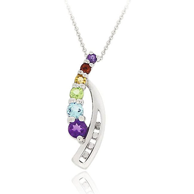 Glitzy Rocks Sterling Silver Multi-gemstone Diamond Accent Journey Necklace