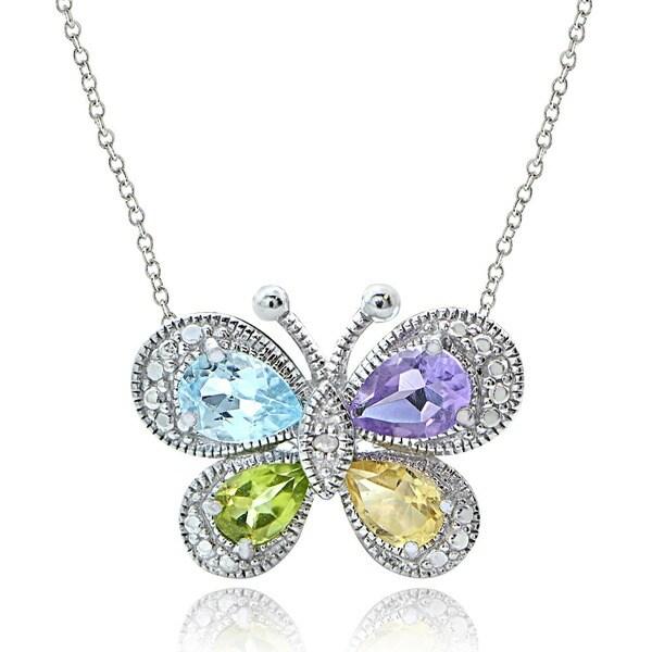 Glitzy Rocks Sterling Silver Multi-gemstone and Diamond Butterfly Necklace