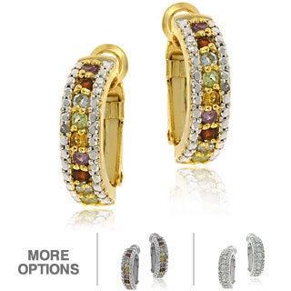 Glitzy Rocks 18K Gold Overlay/Silver Gemstone Semi-Hoop Earrings (3 options available)
