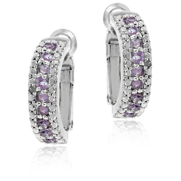 Glitzy Rocks Sterling Silver Amethyst and Diamond Accent Semi-hoop Earrings