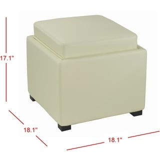 Safavieh Bobbi Tray Off-white Bicast Leather Storage Ottoman