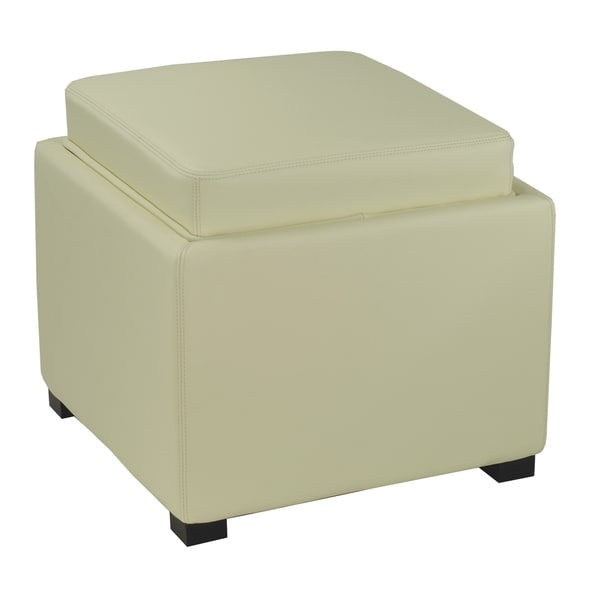 Safavieh Bobbi Tray Off White Bicast Leather Storage Ottoman