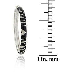Glitzy Rocks Sterling Silver Zebra Design Hoop Earrings - Thumbnail 2