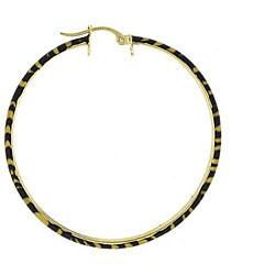 Glitzy Rocks 18k Gold/ Sterling Silver Tiger Design Hoop Earrings