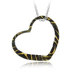 Glitzy Rocks Sterling Silver Heart-shape Tiger Design Necklace