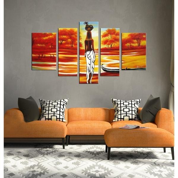 U0026#x27;African Sceneu0026#x27; Hand Painted Oil On Canvas Art