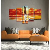 'African Scene' Hand-painted Oil on Canvas Art (Set of 5)