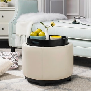 Safavieh Off-white Round Storage Tray Ottoman