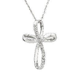 Sterling Silver 1/10ct TDW Diamond Ribbon Cross Necklace