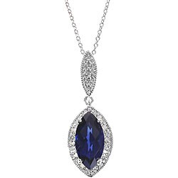Sterling Silver Created Sapphire 1/10ct TDW Diamond Necklace