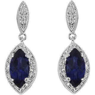 Sterling Silver Created Sapphire and 1/10ct TDW Diamond Earrings (I-J, I3)|https://ak1.ostkcdn.com/images/products/4107532/P12114999.jpg?impolicy=medium