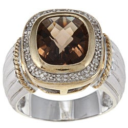 Silver and 18k Gold Smokey Quartz/ 1/10ct TDW Diamond Ring (I-J, I3)