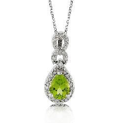 Sterling Silver Peridot and 1/10ct TDW Diamond Necklace - Thumbnail 2
