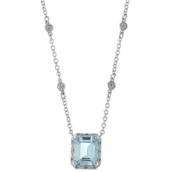 Sterling Silver Blue Topaz and 1/10ct TDW Diamond Necklace