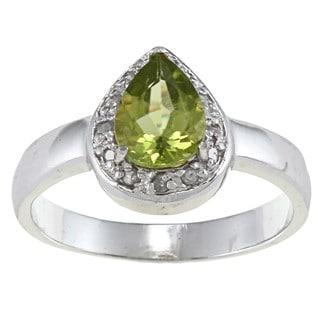 Sterling Silver Peridot and 1/10ct TDW Diamond Teardrop Ring
