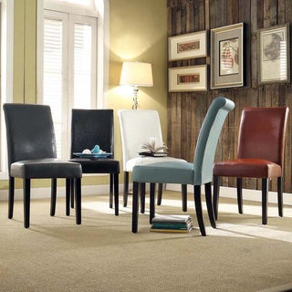 dorian faux leather upholstered dining chair set of 2 by inspire q bold