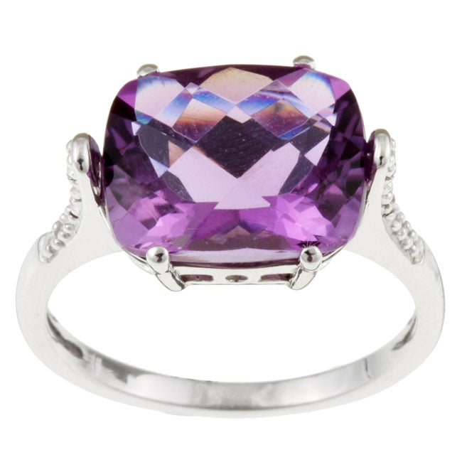 10k White Gold Amethyst and Diamond Ring - Thumbnail 0