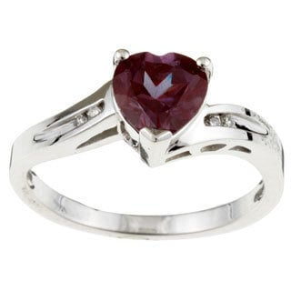 Sofia 10k White Gold Created Alexandrite and Diamond Heart Ring