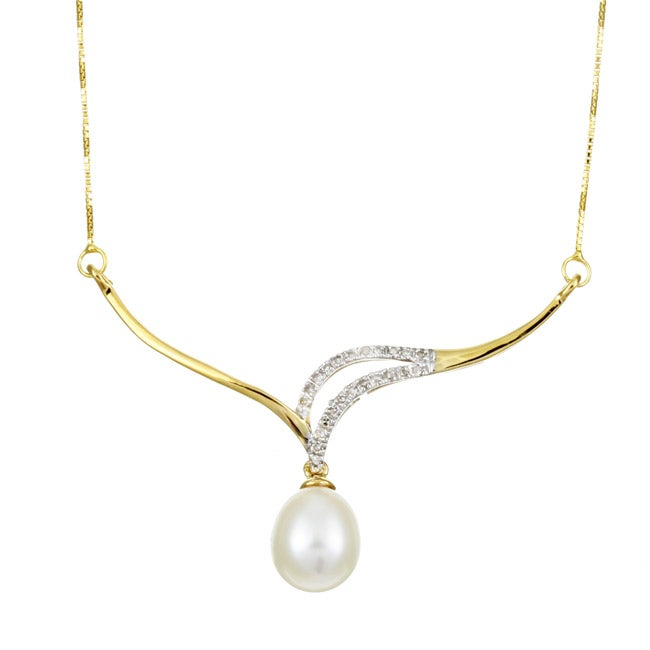 10k Yellow Gold FW Pearl and 1/8ct TDW Diamond Necklace (9 mm)
