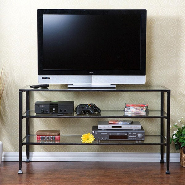 distressed metal glass tv stand