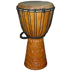 Mahogany Deep Carve Natural Djembe Drum (Indonesia)
