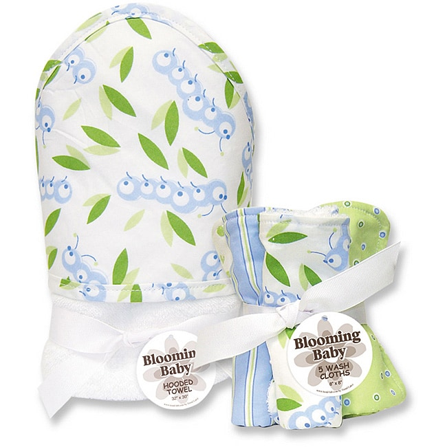 Trend Lab Blooming Baby Caterpillar Hooded Towel/ Wash Cloth Set