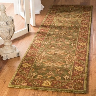 Safavieh Handmade Golden Jaipur Green/ Rust Wool Runner Rug (2'3 x 14')