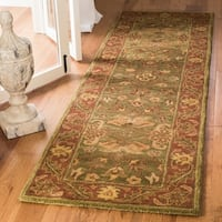 "Safavieh Handmade Golden Jaipur Green/ Rust Wool Runner Rug - 2'3"" x 14'"