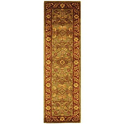 Safavieh Handmade Golden Jaipur Green/ Rust Wool Runner Rug (2'3 x 14')